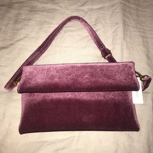 Purple velvet clutch with removable strap